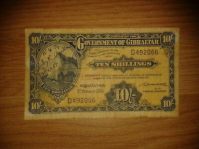 Gibraltar 10 Shillings 1958 - F condition