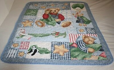 TEDDY BEAR Baby QUILT Blanket Handmade Animal Blue Checked Patchwork Panda Stars