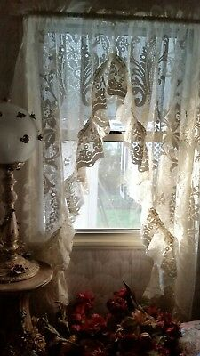 "VINTAGE LACE CURTAINS 2 JABOT PANELS  61"" L 1st set"