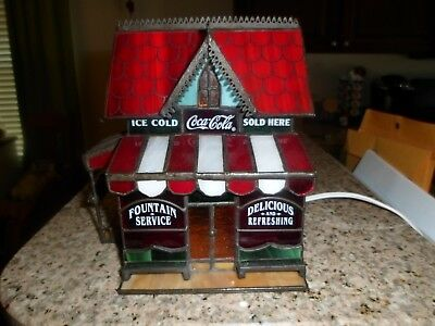 Franklin Mint Coca Cola Stained Glass Antique House Rare