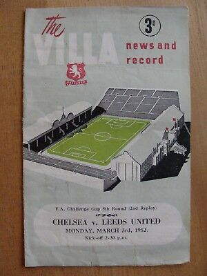Orig 1952 FA Cup Programme CHELSEA v LEEDS UNITED 5th Rnd 2rd REPLAY Villa Park