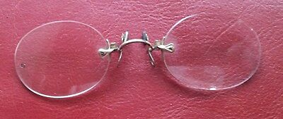 Original Old Vintage Pair Of Pince Nez Rimless, Possibly Gold