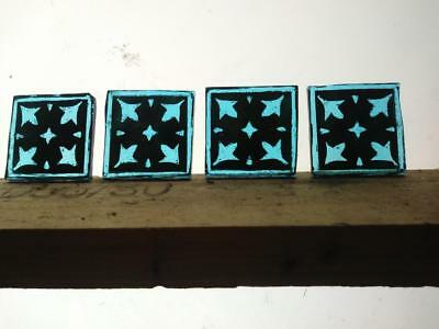 Stained Glass - Kiln fired blue painted squares pieces x 4