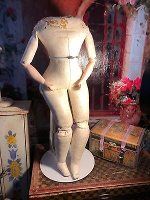 ~ Wonderful!!! Antique German Leather Lady Doll Fashion Body w/Bisque Arms ~
