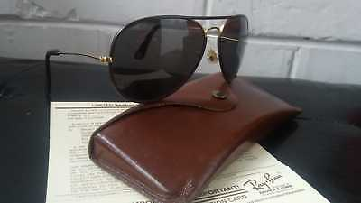 Ray Ban B&l Mod. Leather Aviator Made In Usa 80's Sunglasses