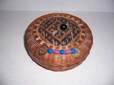 Antique Chinese Sewing Basket With Lid