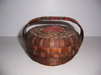 Antique Chinese Sewing Basket With Lid & Handle