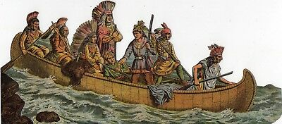 1800's Victorian Scrap- American Indians In Canoe-Selling Lot Of Card's Diecut's