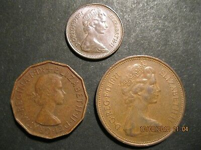 LOT of 3 GREAT BRITAIN Coins - 1958, 1971 and 1974