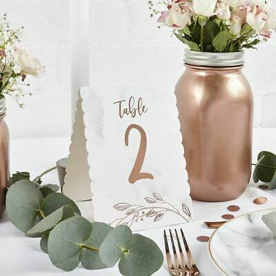 Rose Gold Marbled Wedding Table Numbers 1-12