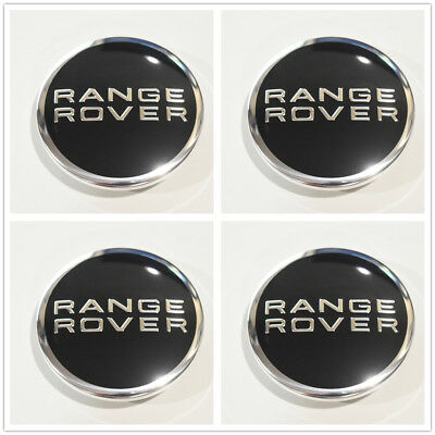 4pcs Black / Chrome Wheel Center Hub Caps 63mm Emblem for Land Rover Range Rover