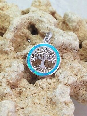 Opal Tree of Life Pendant Necklace Sterling Silver Opal Kabbalah Jewelry Gift