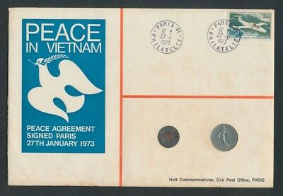 France & USA: 1973 Peace in Vietnam Coins & Stamp PNC, Limited Edition # 101/500