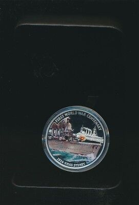 Solomon Islands: 2014 $10 WWI Centennial/ HMAS Sydney Proof Silver Cased