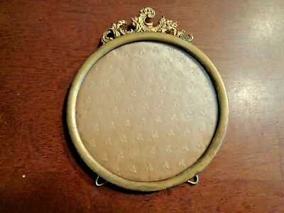 Vintage Ornate Round table top metal  picture frame gold tone w/glass 5""