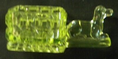 Figural Pressed Glass Vaseline Open Salt - Dog Cart - Central Glass