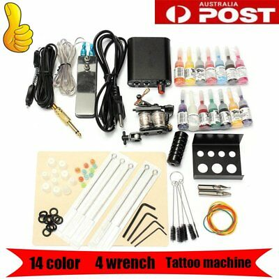 HOT Complete Tattoo Kit Set 14 color Inks Power Supply 1 TOP Machine GunsDR