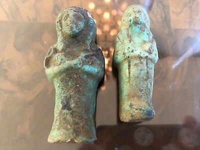 2 Ancient Egyptian Antique Ushabti Ceramic Statues Figures