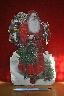 "Large (Over 11"" Tall) Victorian Die Cut Santa With Toys & Christmas Tree"