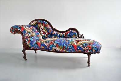 Victorian Chaise Longue, prof upholstered vintage retro 1970's Superman fabric