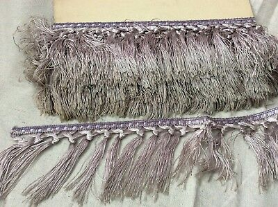 "Vintage French Lavender Gray Silk Fringe 5 yards X 3 1/2"" Hand Knotted"