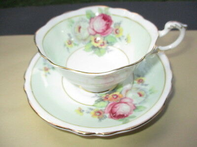 Footed Cup Saucer Paragon Beauty Roses Bouquet Mint Green Bands