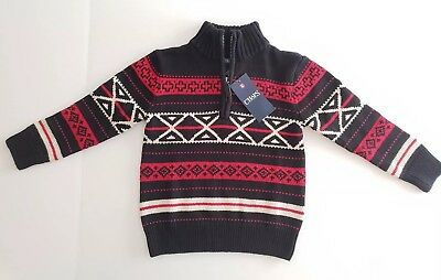 Chaps Boys Winter Cotton Knit Sweater Black Red White - Age 5