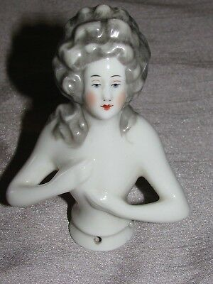 Lovely vintage Porcelain Pin Cushion Half Doll Hand Painted features Nude