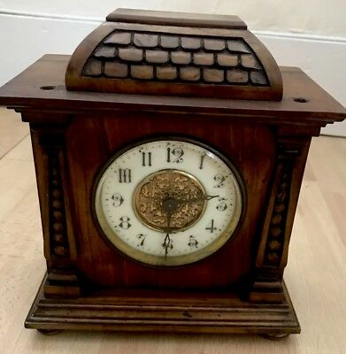 Small Vintage Wooden Mantle Clock With Double ended Key For Spares/Repair