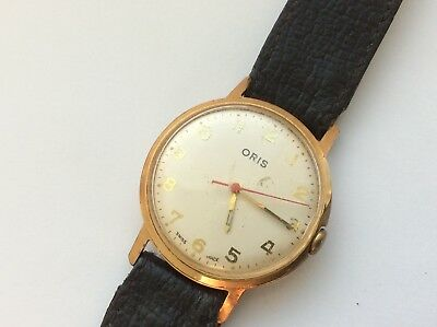 Vintage Mens Watch. Gold Plated Oris. 32mm. Working