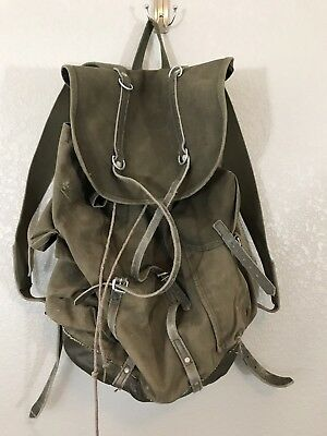 Vintage Army Military Backpack Rucksack Canvas Leather Backpack Pack Bag  Used