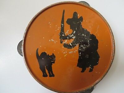 Rare Vintage Halloween Tin Witch With Umbrella and Scared Black Cat Tambourine