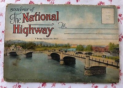 "Vintage UNUSED Fold-Out Postcard 16 Views ""Souvenir of the National Highway"""