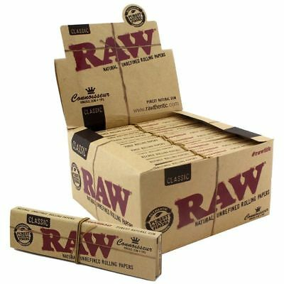 1x FULL BOX RAW Classic Connoisseur King Size Slim + Tips (24 Booklets)