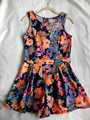 NEON BLACK MULTI FLORAL jumpsuit PLAYSUIT age 14 years NEW with TAGS