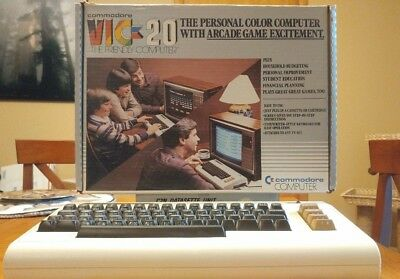 Commodore VIC-20 Computer with original box & additional storage & manuals