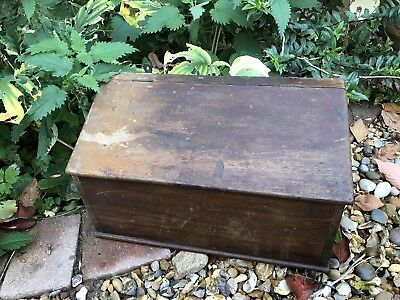 Antique Handmade Old Wooden Slant Top Candle Box Wall Hanging Storage Vtg Trays