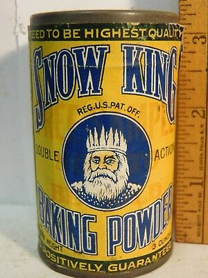 NOS Antique SNOW KING Baking Powder Tin Free TRIAL Sample size paper label 3 oz