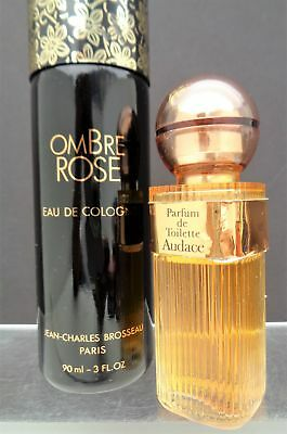 """Vintage Lot Of 2 Perfumes, """"ombre Rose"""" And """"audace"""" 3 Oz Parfum"""