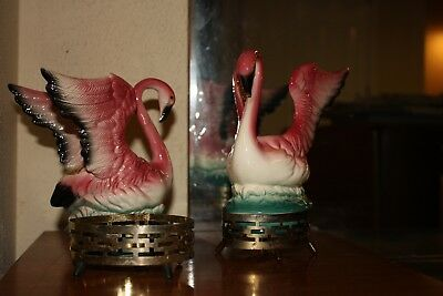 Pair of Vintage Art Deco Maddux Winged Pink Flamingo Vases with Stands