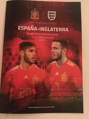 Spain v England official programme, Nations League, 15-10-18