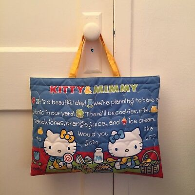 Hello Kitty & Mimmy Quilted Hand Bag / School Bag - Classic Design - Rare!!