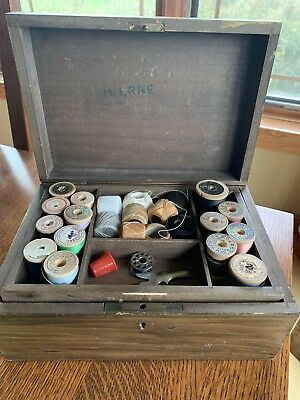 Vintage Sewing Box & Contents Wood Thread Spools Etc.