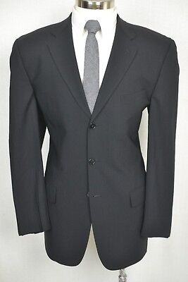 (41L) Joseph Abboud Men's Black Wool Classic Pleated Front 2 Piece Suit (35x31)