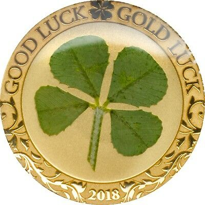 2018 $1 Palau Four-Leaf Clover Good Luck .9999 Gold Proof Coin