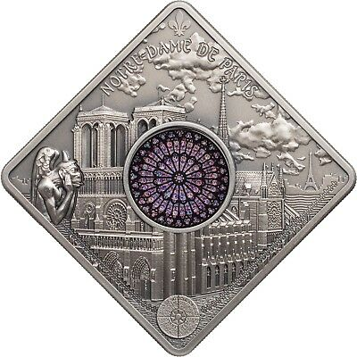 2017 $10 Palau Sacred Art Notre Dame 50g .999 Silver Antiqued Coin