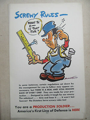 "Original 1941 World War Two Poster Comic Poster By Cy Hungerford ""screwy Rules"""