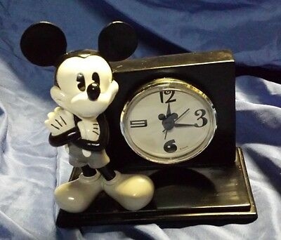 Disney Mickey Mouse Black and White Desk Clock Working