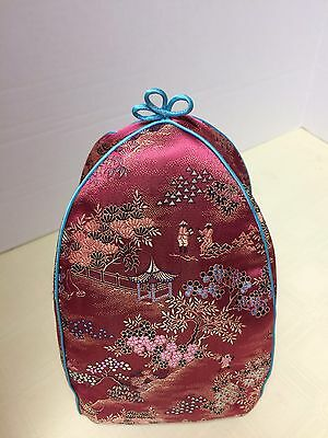 Vintage Tea Cozy Cosy Cozie Oriental Embroidered Satin Fabric Lined