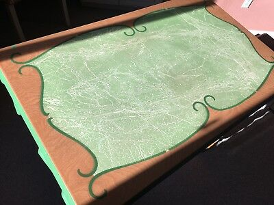 Vintage art deco enamel top kitchen table two sliding extensions and drawer